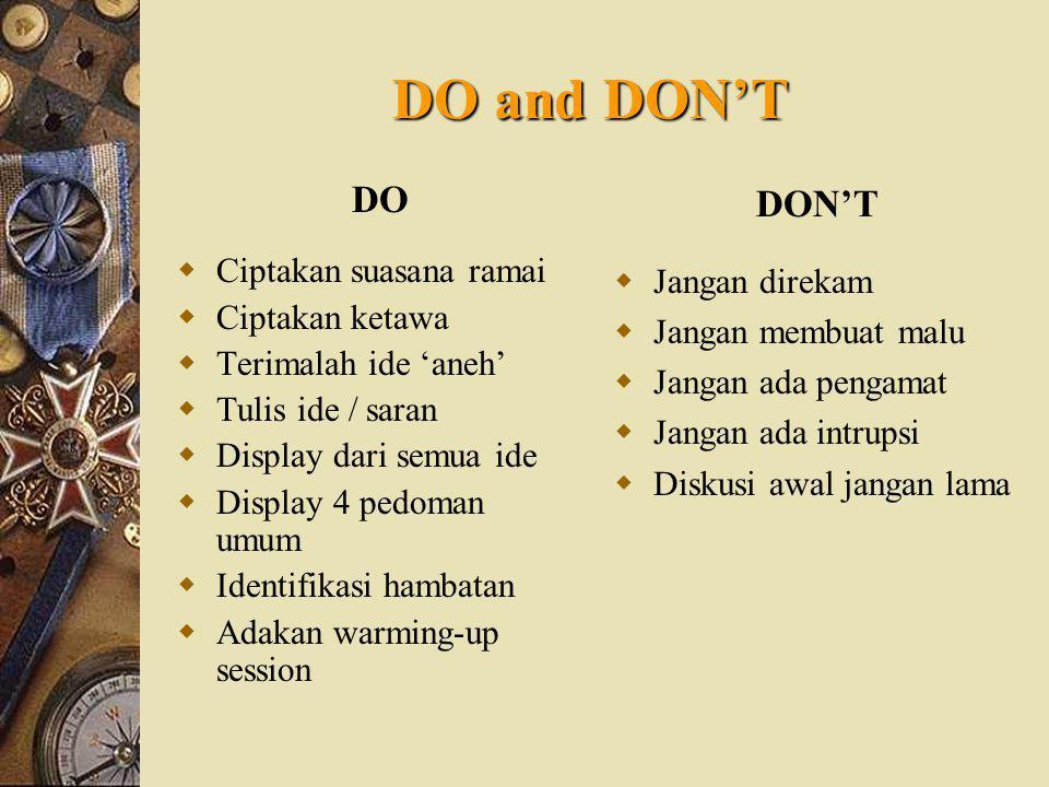 DO and DON'T DO DON'T Ciptakan suasana ramai Jangan direkam