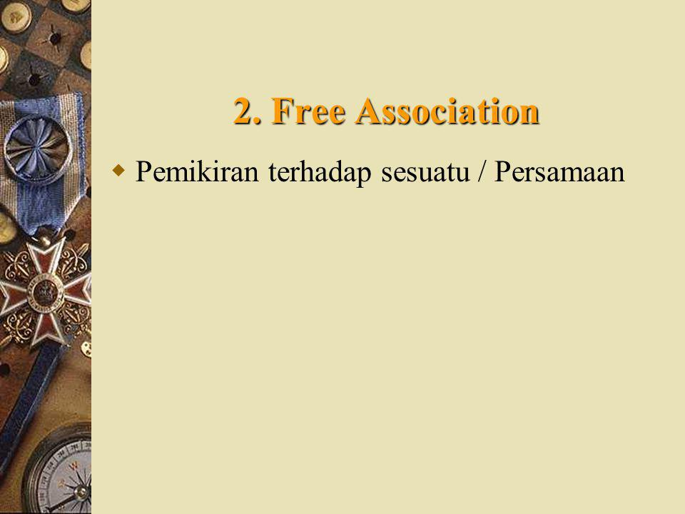 2. Free Association Pemikiran terhadap sesuatu / Persamaan IOHIOH