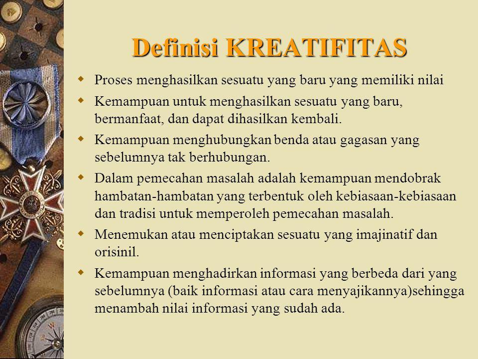 Definisi KREATIFITAS Proses menghasilkan sesuatu yang baru yang memiliki nilai.