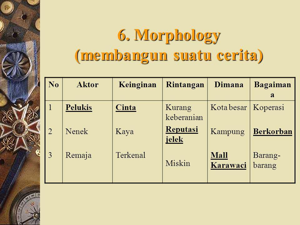 6. Morphology (membangun suatu cerita)