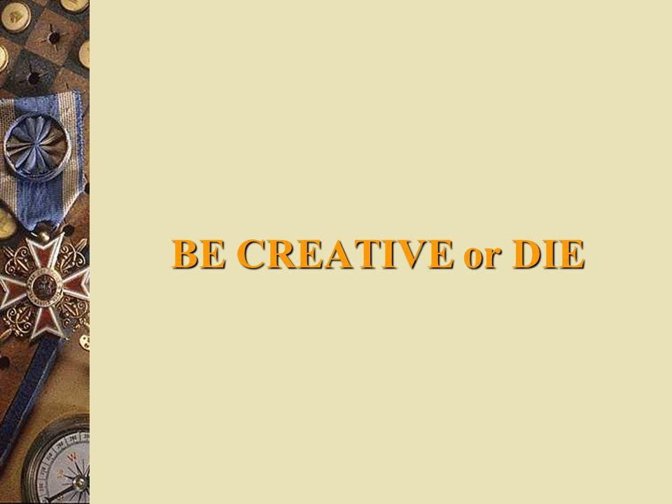 BE CREATIVE or DIE IOHIOH