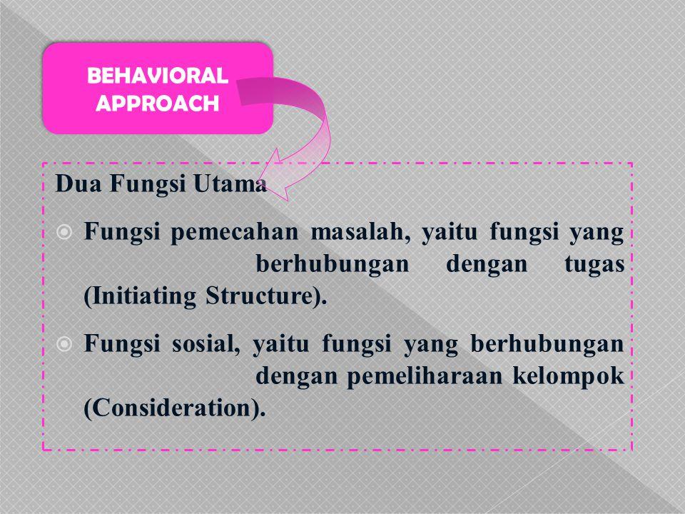 BEHAVIORAL APPROACH Dua Fungsi Utama. Fungsi pemecahan masalah, yaitu fungsi yang berhubungan dengan tugas (Initiating Structure).