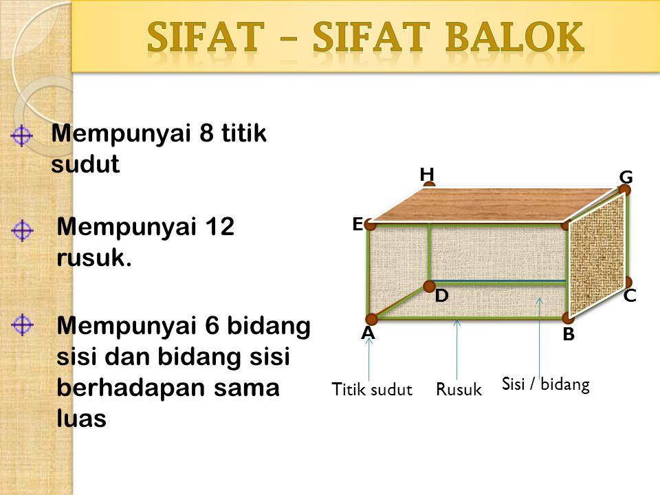 SIFAT – SIFAT BALOK Mempunyai 8 titik sudut Mempunyai 12 rusuk.