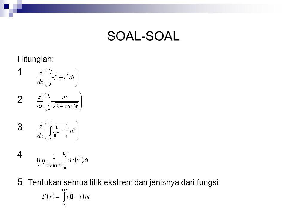 SOAL-SOAL Hitunglah: 1 2 3 4 5 Tentukan semua titik ekstrem dan jenisnya dari fungsi