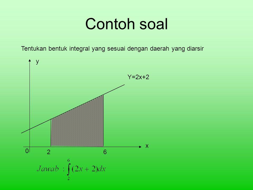 Contoh soal Tentukan bentuk integral yang sesuai dengan daerah yang diarsir y Y=2x+2 x 2 6
