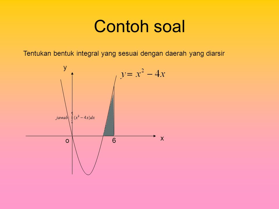 Contoh soal Tentukan bentuk integral yang sesuai dengan daerah yang diarsir y x o 6