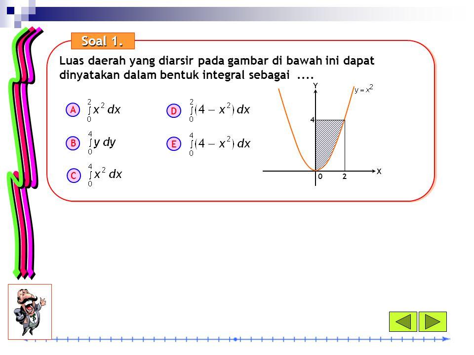 Soal 1. Luas daerah yang diarsir pada gambar di bawah ini dapat dinyatakan dalam bentuk integral sebagai ....