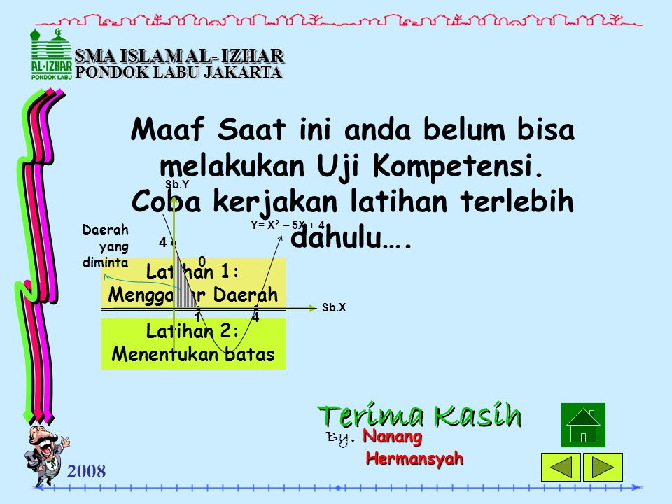 SMA ISLAM AL- IZHAR PONDOK LABU JAKARTA. Maaf Saat ini anda belum bisa melakukan Uji Kompetensi. Coba kerjakan latihan terlebih dahulu….
