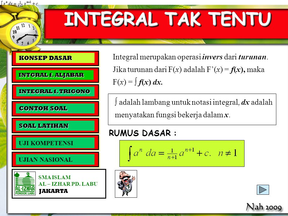 INTEGRAL TAK TENTU Integral merupakan operasi invers dari turunan.