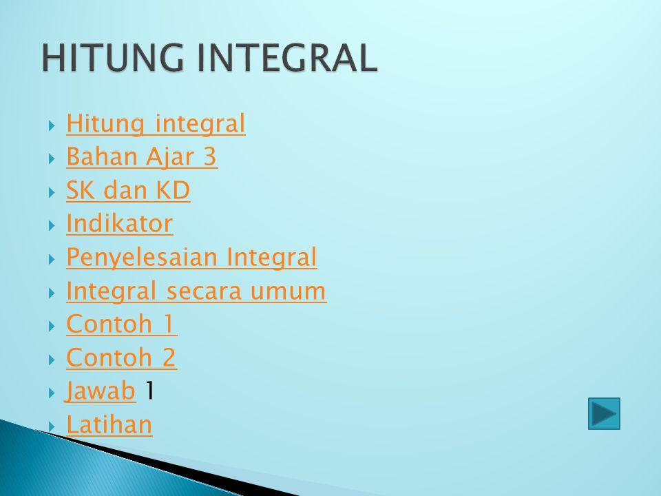 HITUNG INTEGRAL Hitung integral Bahan Ajar 3 SK dan KD Indikator