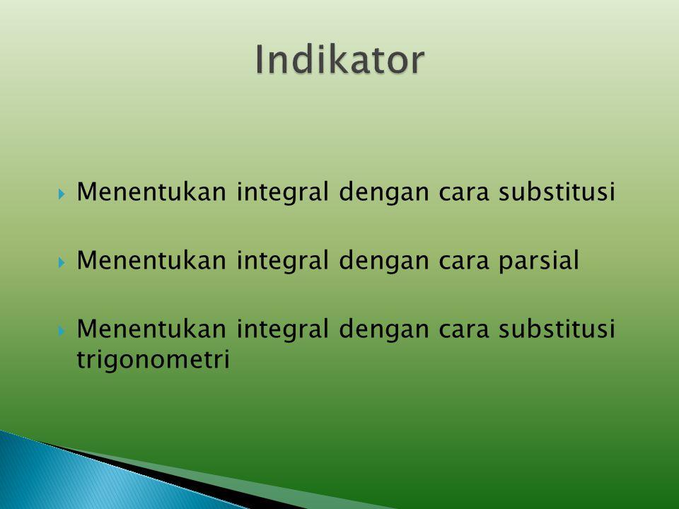 Indikator Menentukan integral dengan cara substitusi