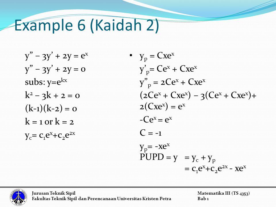 Example 6 (Kaidah 2) y – 3y' + 2y = ex y – 3y' + 2y = 0 subs: y=ekx k2 – 3k + 2 = 0 (k-1)(k-2) = 0 k = 1 or k = 2 yc= c1ex+c2e2x