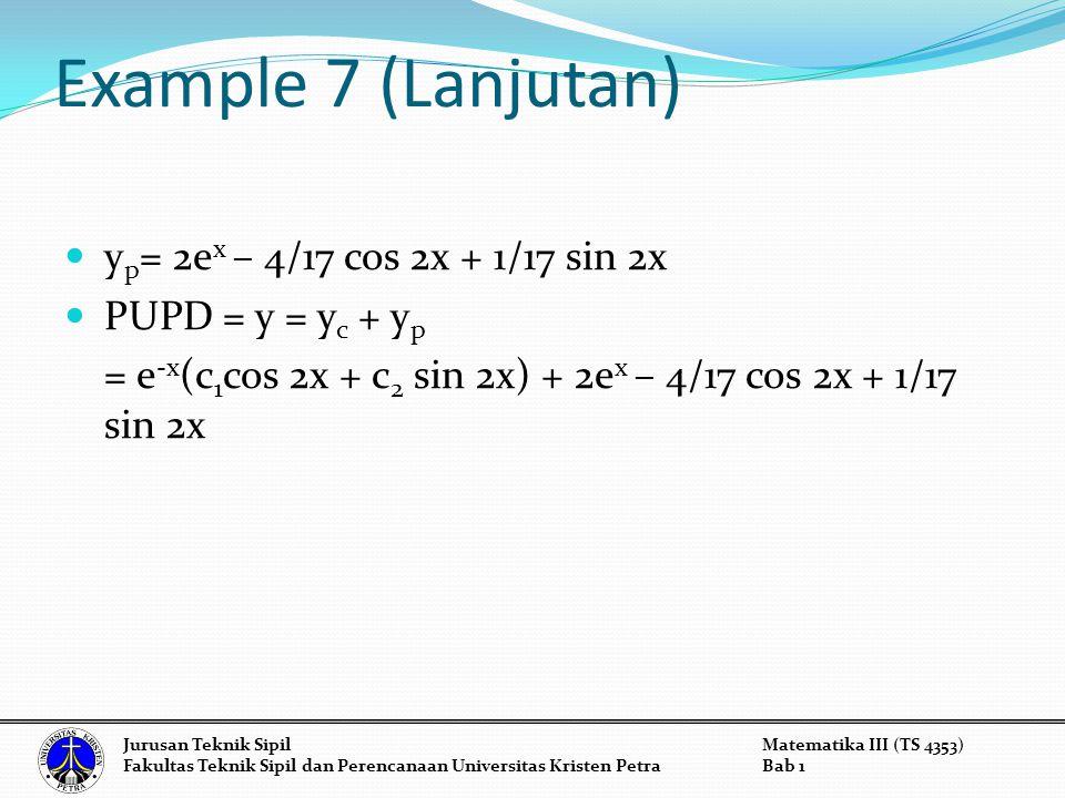 Example 7 (Lanjutan) yp= 2ex – 4/17 cos 2x + 1/17 sin 2x