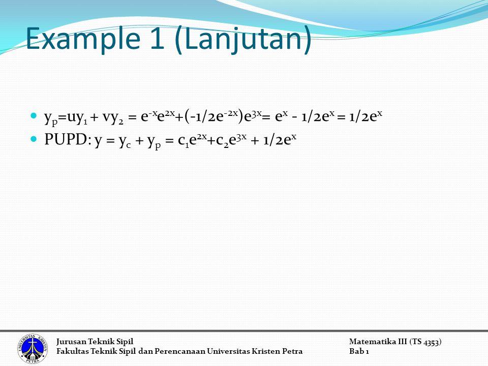 Example 1 (Lanjutan) yp=uy1 + vy2 = e-xe2x+(-1/2e-2x)e3x= ex - 1/2ex = 1/2ex. PUPD: y = yc + yp = c1e2x+c2e3x + 1/2ex.