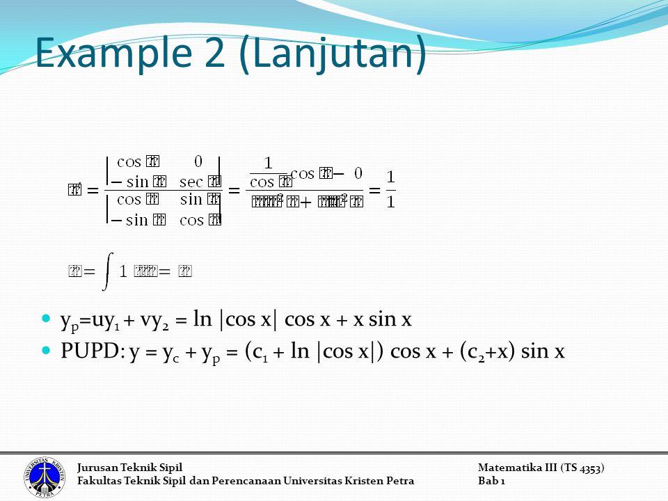Example 2 (Lanjutan) yp=uy1 + vy2 = ln |cos x| cos x + x sin x
