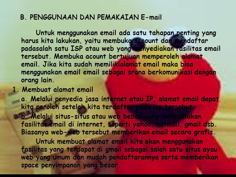 B. PENGGUNAAN DAN PEMAKAIAN E-mail