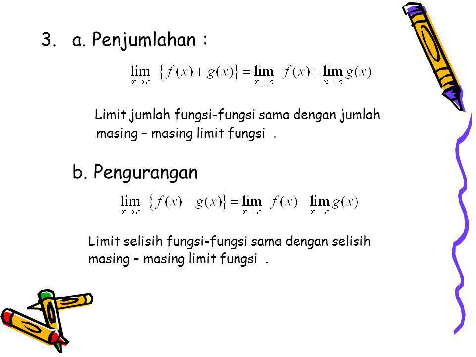 Limit jumlah fungsi-fungsi sama dengan jumlah