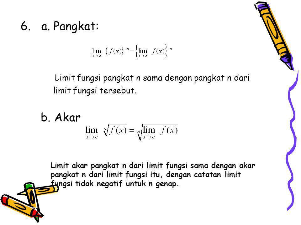 Limit fungsi pangkat n sama dengan pangkat n dari