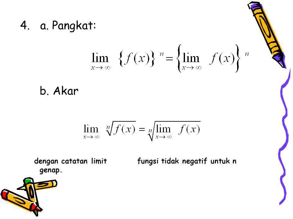 4. a. Pangkat: b. Akar dengan catatan limit fungsi tidak negatif untuk n genap.