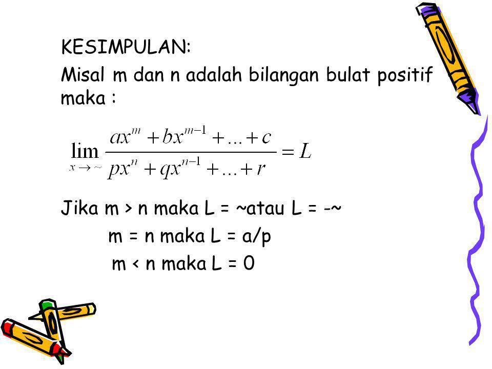 KESIMPULAN: Misal m dan n adalah bilangan bulat positif maka : Jika m > n maka L = ~atau L = -~ m = n maka L = a/p.
