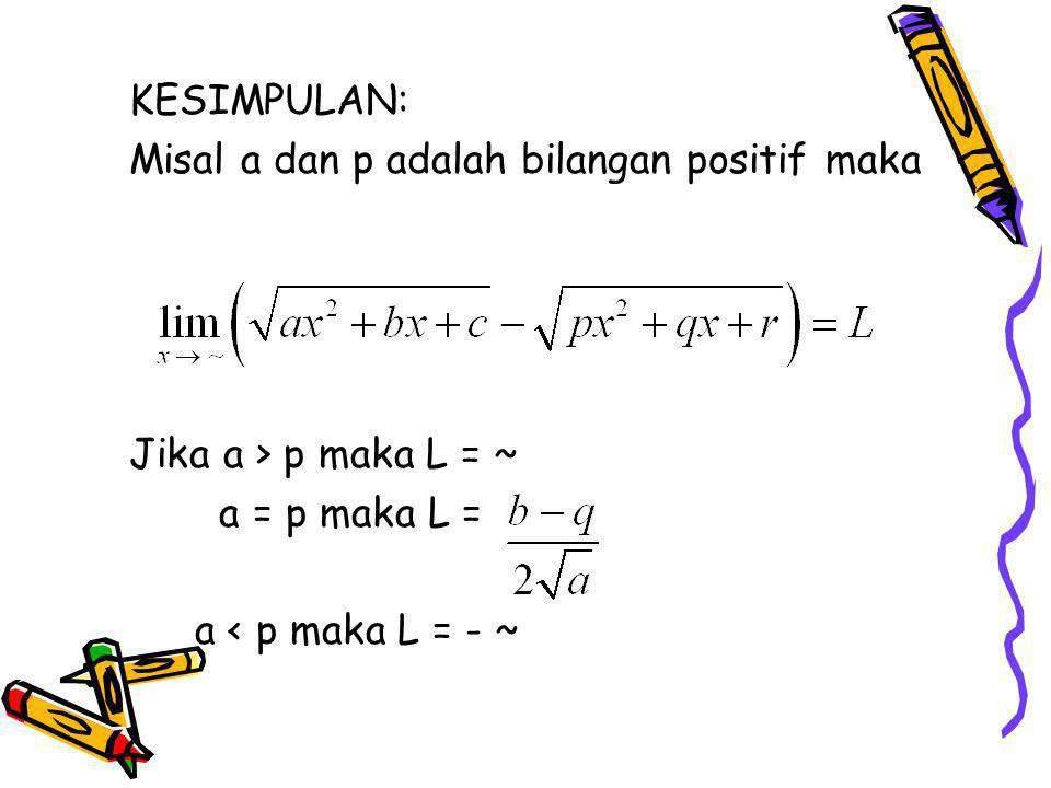KESIMPULAN: Misal a dan p adalah bilangan positif maka.