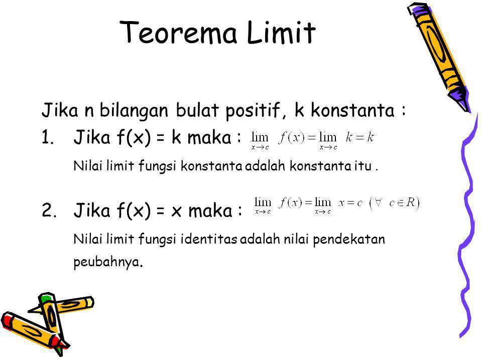 Teorema Limit Jika n bilangan bulat positif, k konstanta :