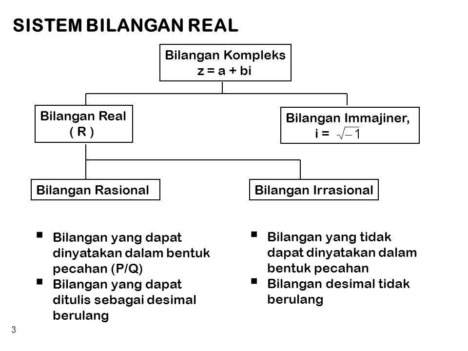 SISTEM BILANGAN REAL Bilangan Kompleks z = a + bi Bilangan Real ( R )