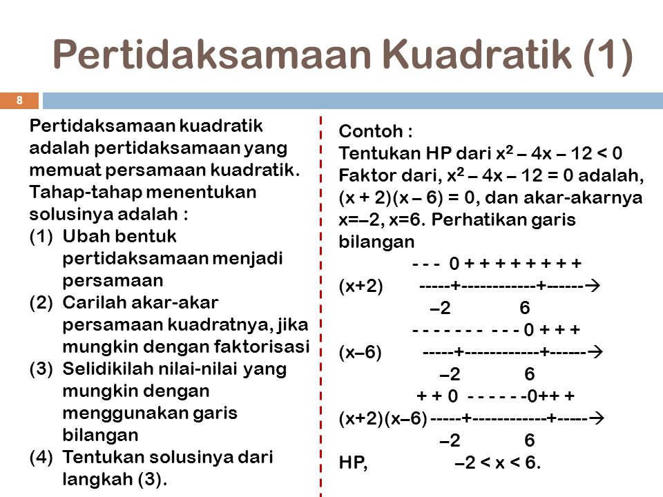 Pertidaksamaan Kuadratik (1)