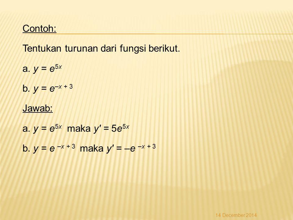 Contoh: Tentukan turunan dari fungsi berikut. a. y = e5x b