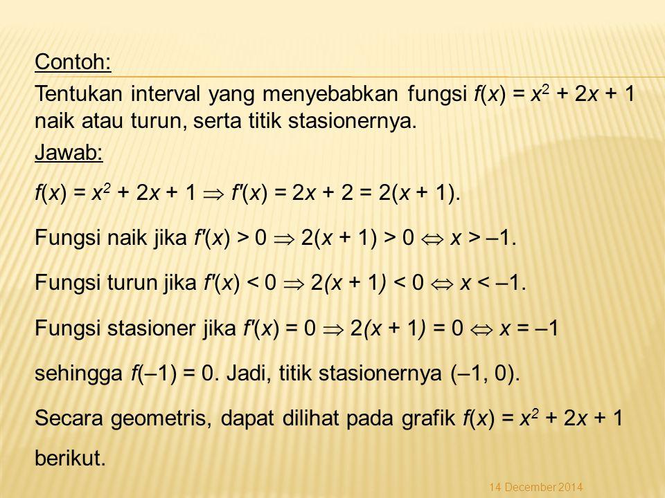 Contoh: Tentukan interval yang menyebabkan fungsi f(x) = x2 + 2x + 1 naik atau turun, serta titik stasionernya. Jawab: f(x) = x2 + 2x + 1  f (x) = 2x + 2 = 2(x + 1). Fungsi naik jika f (x) > 0  2(x + 1) > 0  x > –1. Fungsi turun jika f (x) < 0  2(x + 1) < 0  x < –1. Fungsi stasioner jika f (x) = 0  2(x + 1) = 0  x = –1 sehingga f(–1) = 0. Jadi, titik stasionernya (–1, 0). Secara geometris, dapat dilihat pada grafik f(x) = x2 + 2x + 1 berikut.