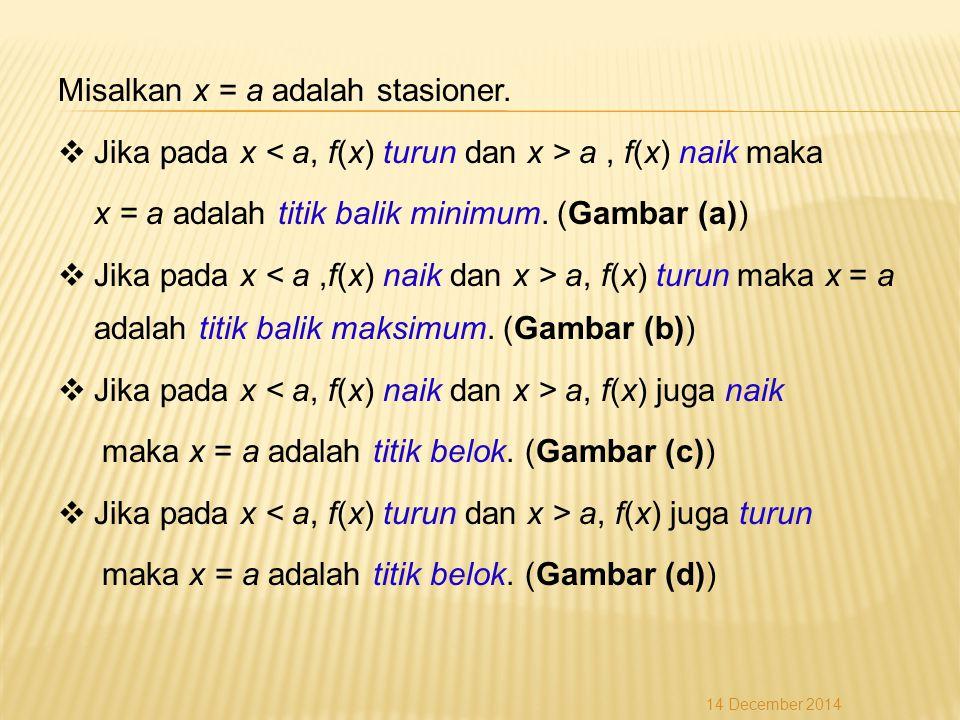 Misalkan x = a adalah stasioner.