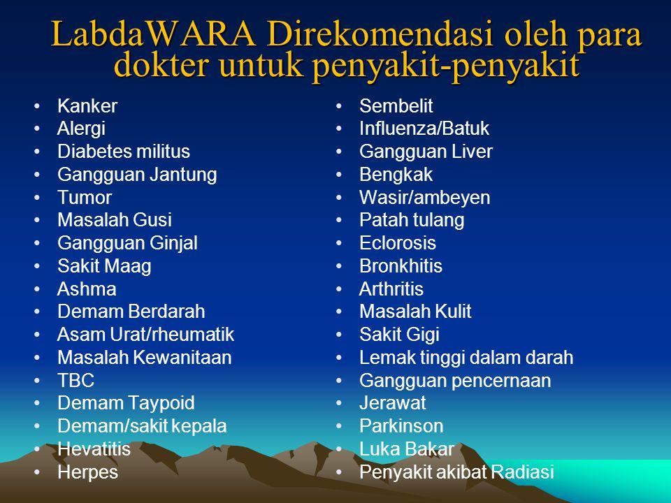 LabdaWARA Direkomendasi oleh para dokter untuk penyakit-penyakit