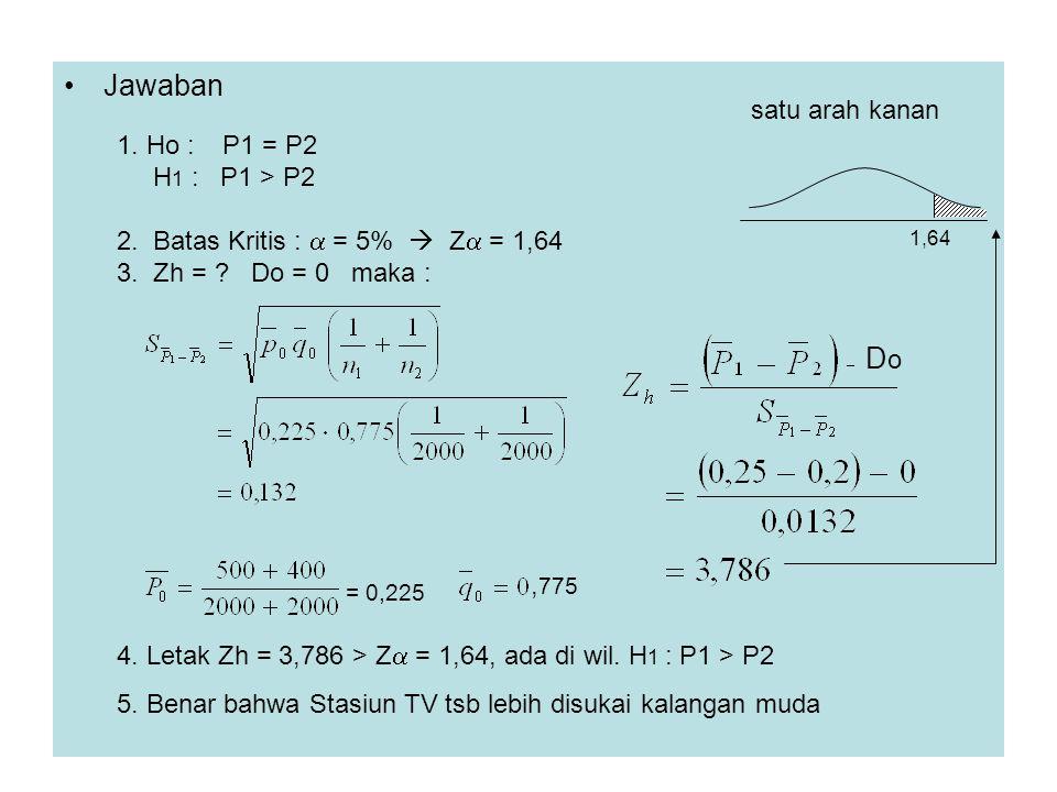 Jawaban Do satu arah kanan 1. Ho : P1 = P2 H1 : P1 > P2