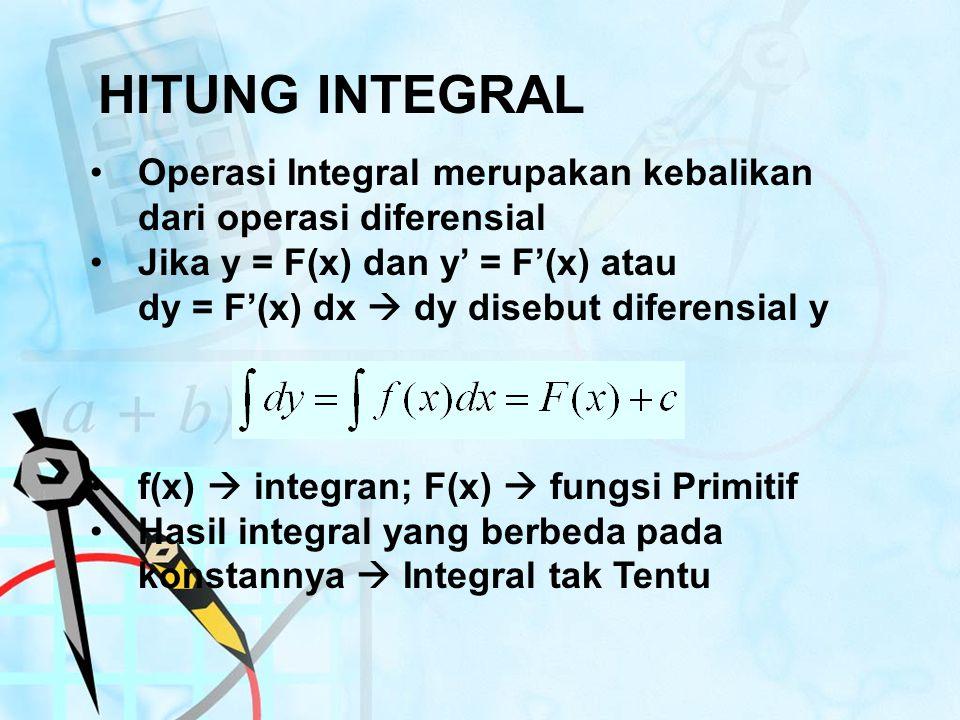HITUNG INTEGRAL Operasi Integral merupakan kebalikan dari operasi diferensial. Jika y = F(x) dan y' = F'(x) atau.