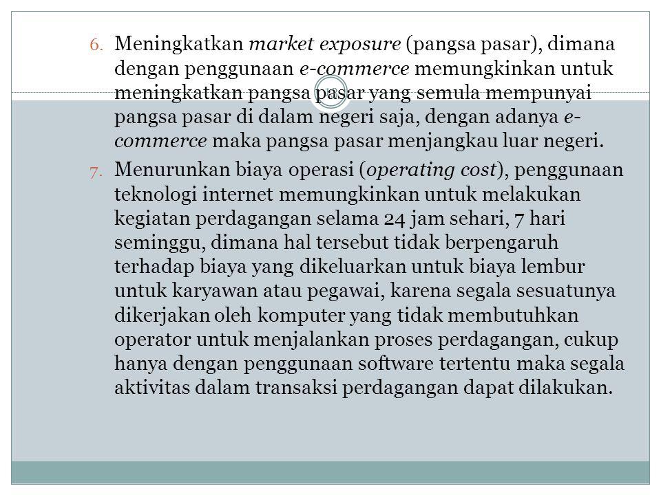 Meningkatkan market exposure (pangsa pasar), dimana dengan penggunaan e-commerce memungkinkan untuk meningkatkan pangsa pasar yang semula mempunyai pangsa pasar di dalam negeri saja, dengan adanya e-commerce maka pangsa pasar menjangkau luar negeri.