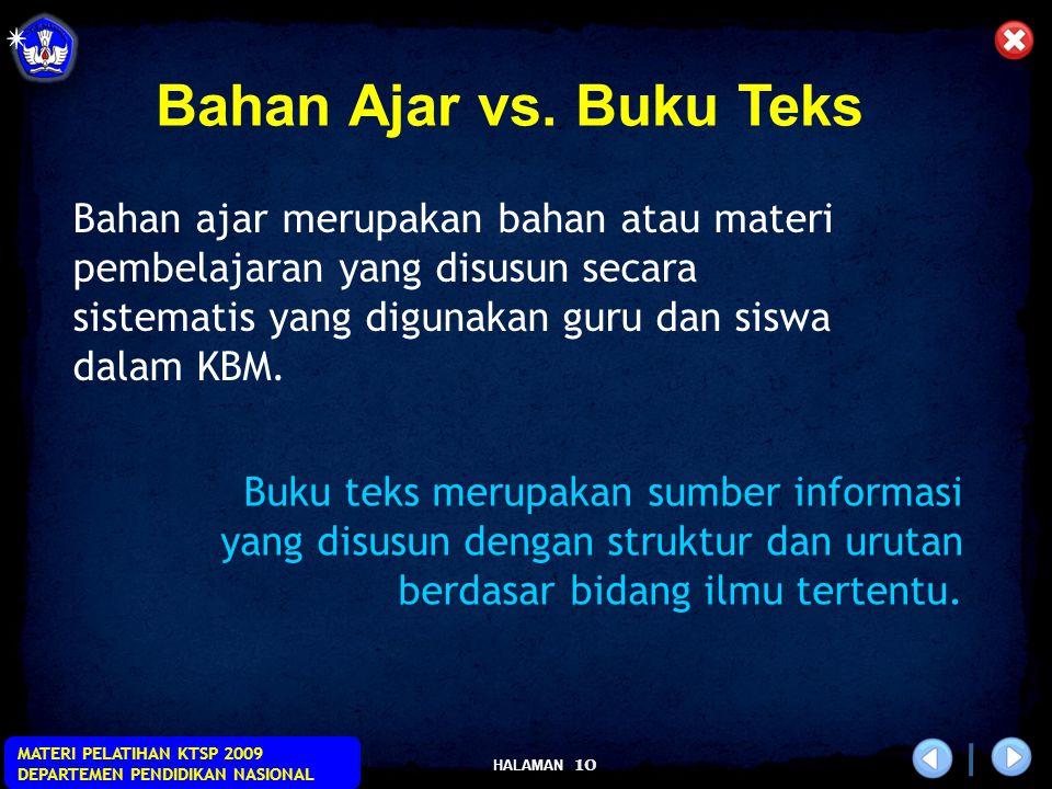 Bahan Ajar vs. Buku Teks Bahan ajar merupakan bahan atau materi pembelajaran yang disusun secara sistematis yang digunakan guru dan siswa dalam KBM.