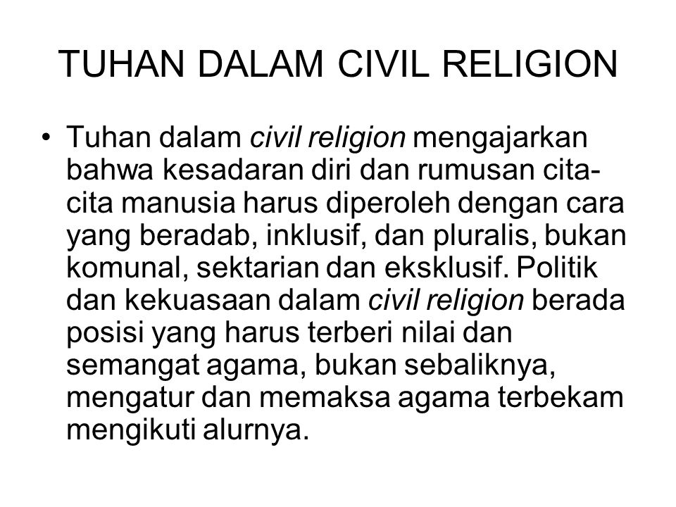 TUHAN DALAM CIVIL RELIGION