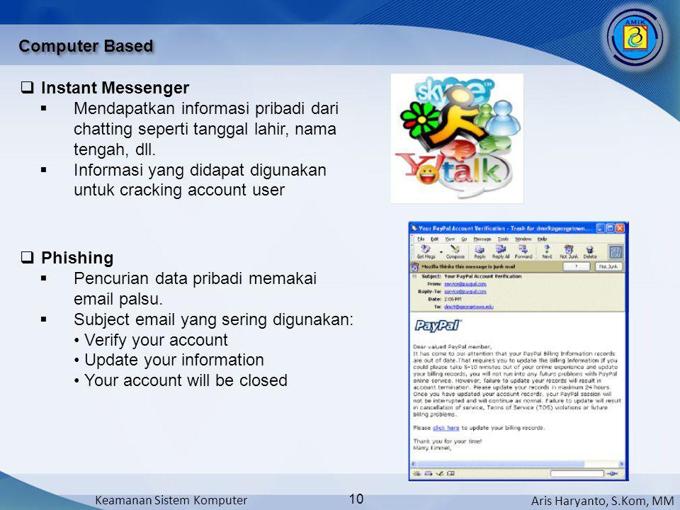 Computer Based Instant Messenger. Mendapatkan informasi pribadi dari chatting seperti tanggal lahir, nama tengah, dll.