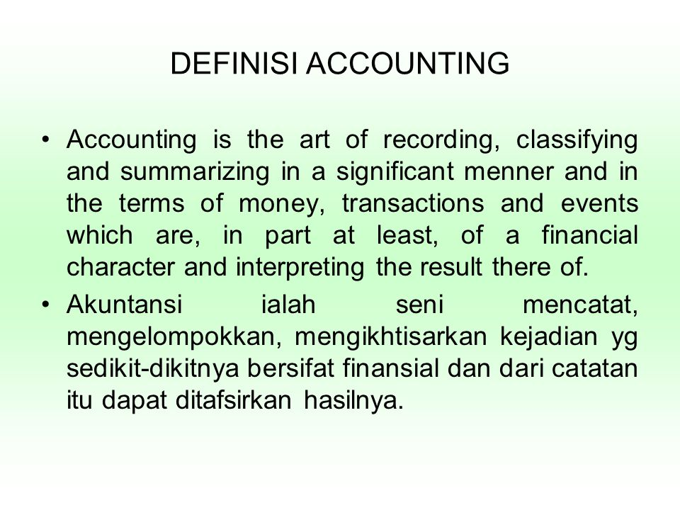 DEFINISI ACCOUNTING