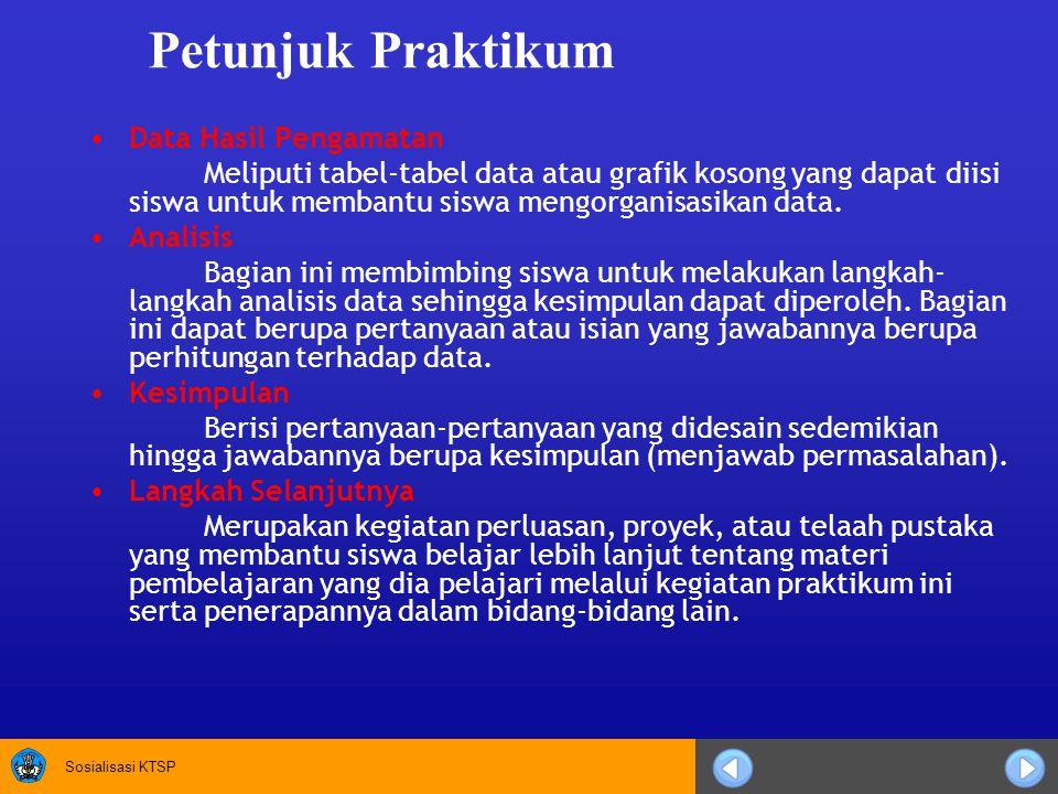 Petunjuk Praktikum Data Hasil Pengamatan