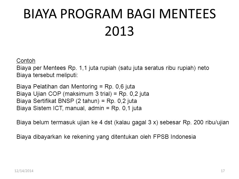BIAYA PROGRAM BAGI MENTEES 2013