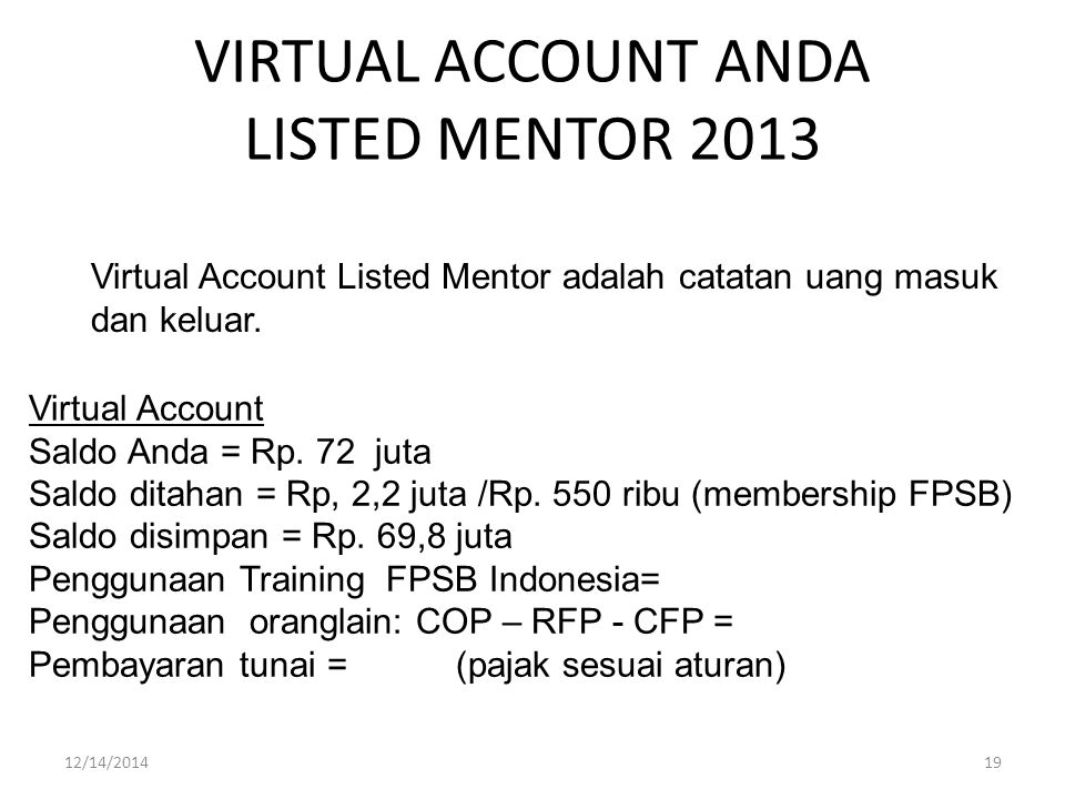 VIRTUAL ACCOUNT ANDA LISTED MENTOR 2013