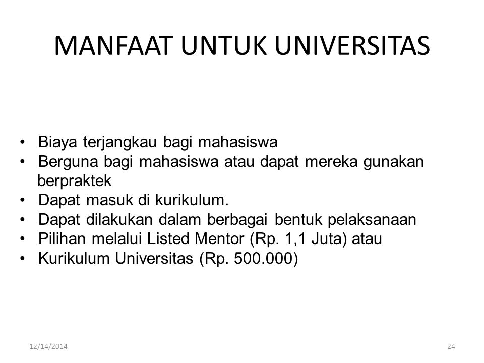 MANFAAT UNTUK UNIVERSITAS