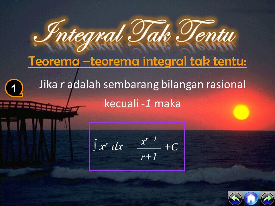 Integral Tak Tentu Teorema –teorema integral tak tentu: ∫ xr dx =