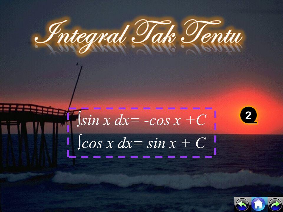∫sin x dx= -cos x +C ∫cos x dx= sin x + C