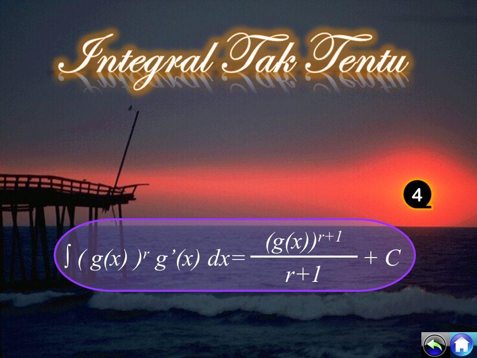 Integral Tak Tentu 4 ∫ ( g(x) )r g'(x) dx= (g(x))r+1 + C r+1