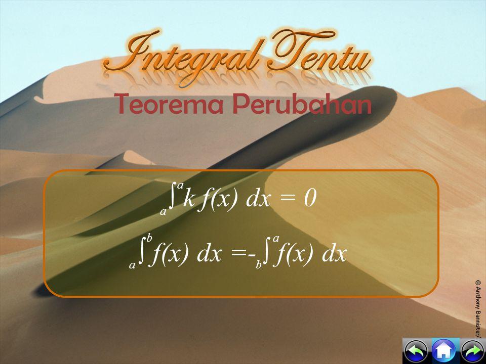 Integral Tentu Teorema Perubahan ∫ k f(x) dx = 0
