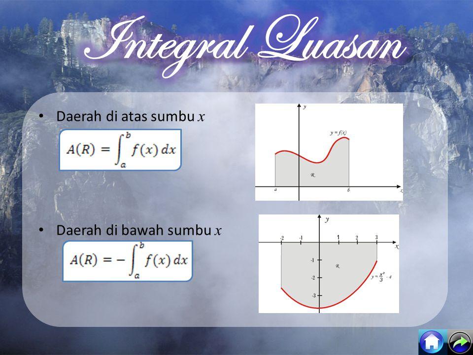 Integral Luasan Daerah di atas sumbu x Daerah di bawah sumbu x