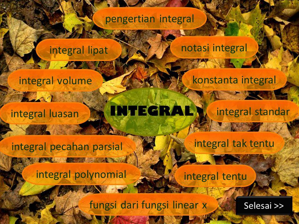 INTEGRAL pengertian integral notasi integral integral lipat