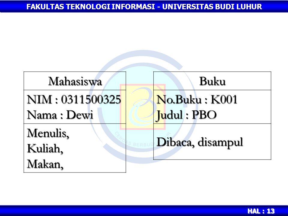 Mahasiswa NIM : 0311500325. Nama : Dewi. Menulis, Kuliah, Makan, Buku. No.Buku : K001. Judul : PBO.